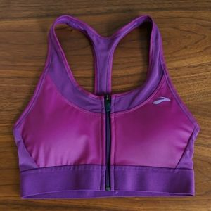 Brooks Fast Forward zip sports bra violet size S